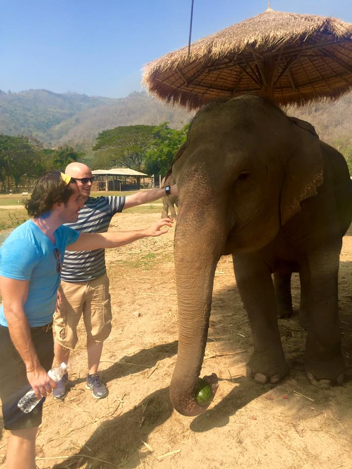 Mark Fisher playing with elephants in Thailand